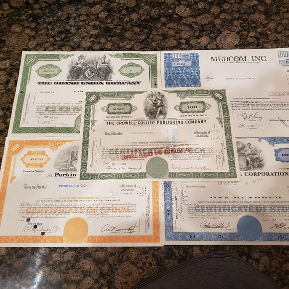 Lot of (5) Vintage Stock Certificates